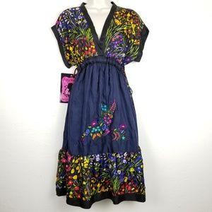 Johnny Was Patricia Ruffle 100% Silk Dress Sz M